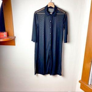 Vintage Sheer Black Button Down 3/4 Sleeve Shirt